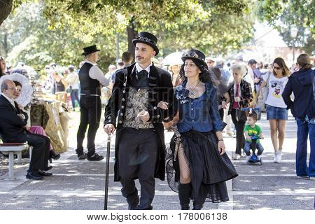 CAGLIARI, ITALY - May 29, 2016: Sunday at La Grande Jatte VIII Ed. At the Public Gardens - parade of costumes in Victorian style - Sardinia