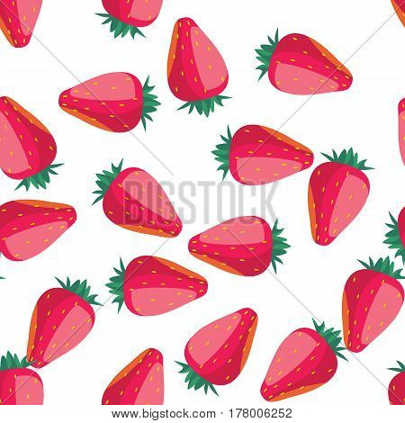 Strawberry seamless pattern on white background. Vector illustration for fresh fruit design. Healthy food concept. Red pink color. Organic illustration with many cartoon strawberry. Raw natural fruit.