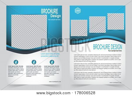 Blue Brochure template flyer design, abstract template for annual report, magazine, poster