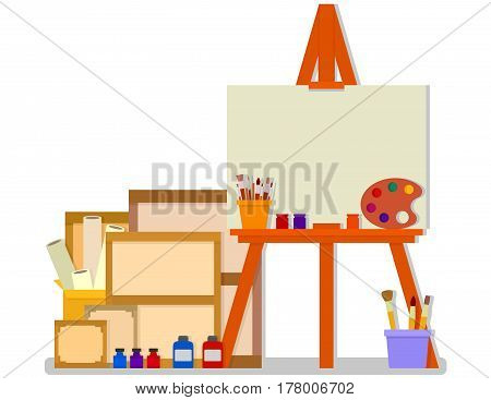 workshop room with easel and tools for art design painting. art studio interior on flat design style