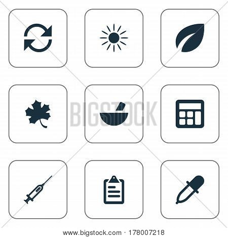 Vector Illustration Set Of Simple Harvest Icons. Elements Refresh, Pipette, Sunshine And Other Synonyms Recycle, Remedy And Drug.