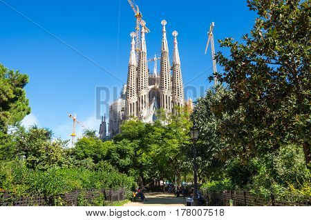 BARCELONA SPAIN - OCTOBER 22 2015: Basilica and Expiatory Church of the Holy Family is a large Roman Catholic church in Barcelona