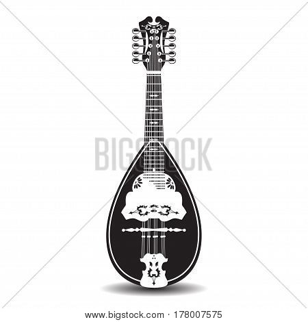 Vector illustration of mandolin isolated on white background. Black and white folk resonator musical instrument.