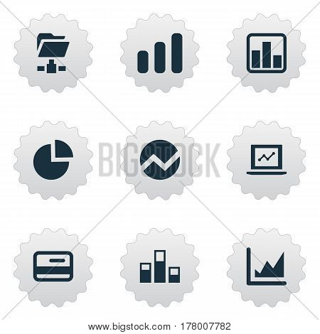 Vector Illustration Set Of Simple Data Icons. Elements Progress, Digital Documnet, Data And Other Synonyms Pie, Progress And Document.
