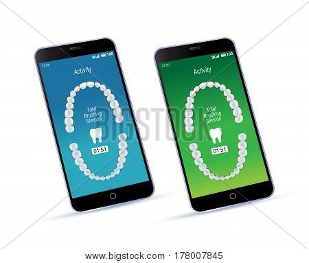 Oral care app and mobile phone. Vector illustration of realistic chewing surface of teeth upper and lower jaw on the screen of smartphone.