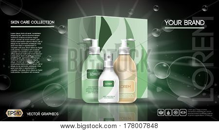 Cosmetic set ads template, moisturizing lotions collection cover mockup. Dazzling effect background. Brown Cream, spray bottle, tube. 3D Realistic Vector illustration