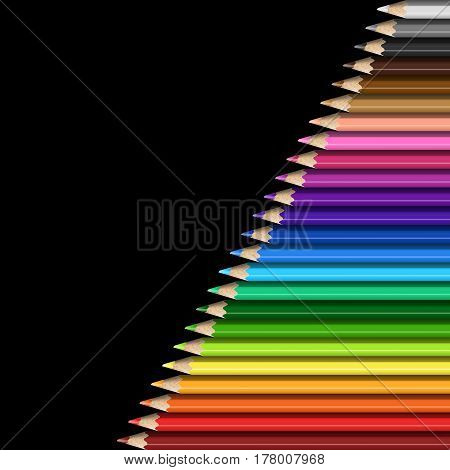 Sloping Line of Realistic Colorful Pencils on Black Background. Texture of Colored Pencils for Presentation Template Cover.