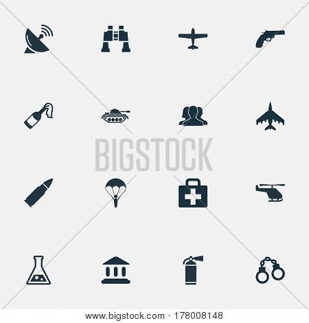 Vector Illustration Set Of Simple War Icons. Elements Ammunition, Paratrooper, Chemistry And Other Synonyms Combat, Extinguisher And Spyglass.