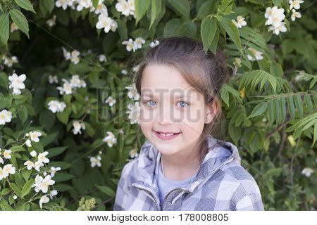 candid smiling child girl portrait among blossom jasmine bush branches