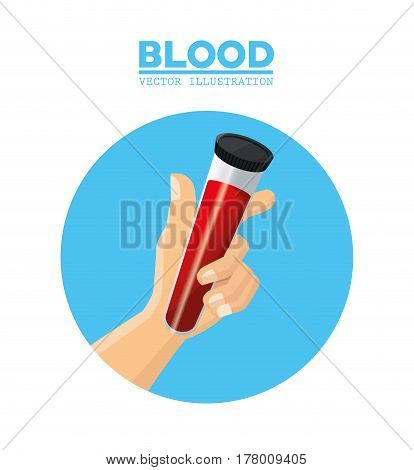 hand holding test tube blood vector illustration eps 10