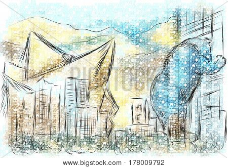 denver colorado. abstract illustration of a city