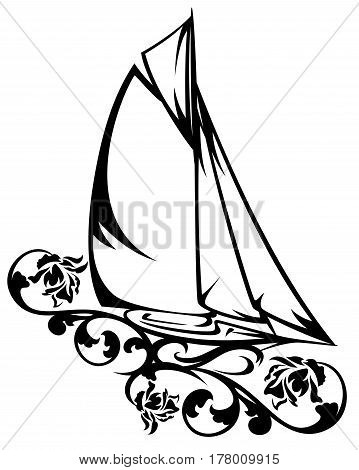 yacht sailing among rose flowers black and white vector design