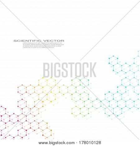 Hexagonal molecule. Molecular structure. Genetic and chemical compounds. Chemistry, medicine, science and technology concept. Geometric abstract background. Atom, DNA and neurons vector
