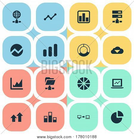 Vector Illustration Set Of Simple Information Icons. Elements Hosting, Pie Chart, Storage And Other Synonyms Network, Cloud And Graphic.