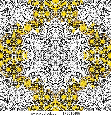 Abstract background. Oriental vector classic yellow and golden pattern.