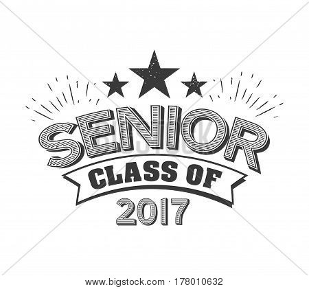 black colored senior class of 2017 text sign with the stars vector illustration.