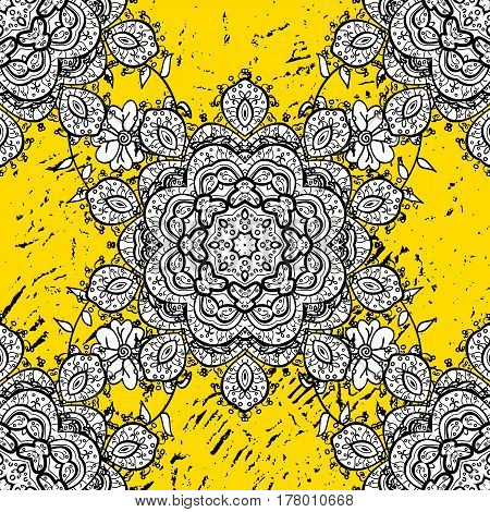 Oriental vector classic yellow and golden pattern. Abstract background.