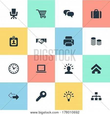 Vector Illustration Set Of Simple B2B Icons. Elements Printing Machine, Identity Card, Relationship And Other Synonyms Badge, Laptop And Arrow.