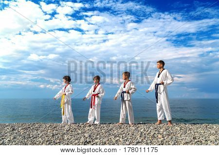Training children on the beach: Taekwondo sports