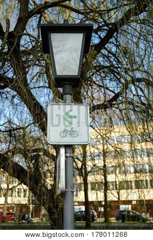 Bicycle path sign in a park in Munich,Germany