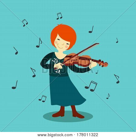 Woman playing violin. Woman musician standing with violin. Vector stock.