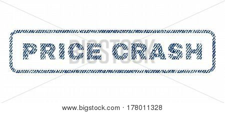 Price Crash text textile seal stamp watermark. Blue jeans fabric vectorized texture. Vector caption inside rounded rectangular banner. Rubber sticker with fiber textile structure.