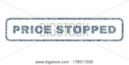 Price Stopped text textile seal stamp watermark. Blue jeans fabric vectorized texture. Vector caption inside rounded rectangular shape. Rubber sign with fiber textile structure.