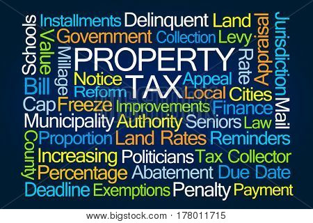 Property Tax Word Cloud on Blue Background