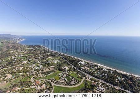 Aerial view of ocean view estates in Malibu, California.