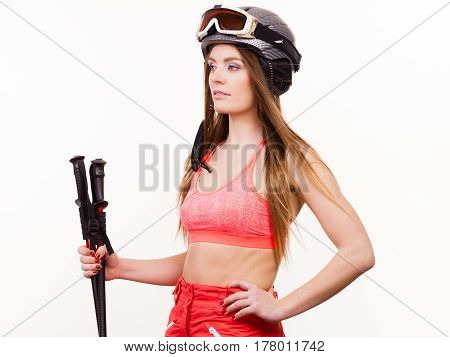Young Female Skier Standing.