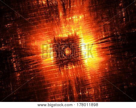 Fiery hardware component fractal computer generated abstract background 3D rendering