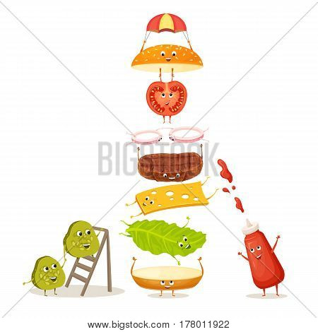 Burger with floating ingredient. Cute funny food character with happy face. Kids menu illustration. Bun, meat, tomato, cucumber, onion, sauce, cheese, lettuce. Delicious hamburger on white background