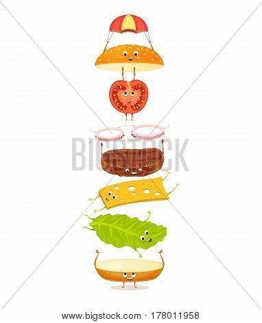 Burger with floating ingredients. Cute funny character with happy face. Kids menu illustration. Bun, meat, tomato, onion, cheese, lettuce. Delicious hamburger on white background. Fast food
