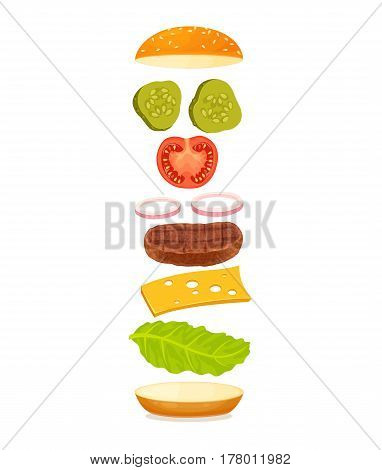 Burger with floating ingredient. Flying bun, meat, tomato, cucumber, onion, sauce, cheese, lettuce. Delicious hamburger illustration on white background. Fast food