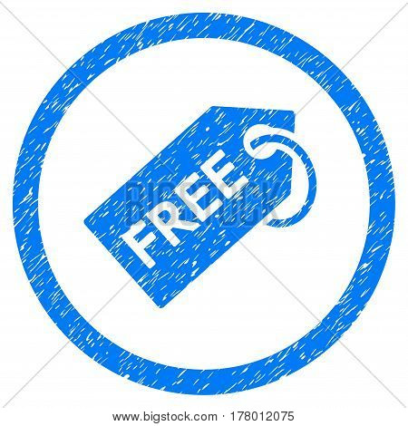 Free Tag grainy textured icon inside circle for overlay watermark stamps. Flat symbol with unclean texture. Circled dotted vector blue ink rubber seal stamp with grunge design on a white background.