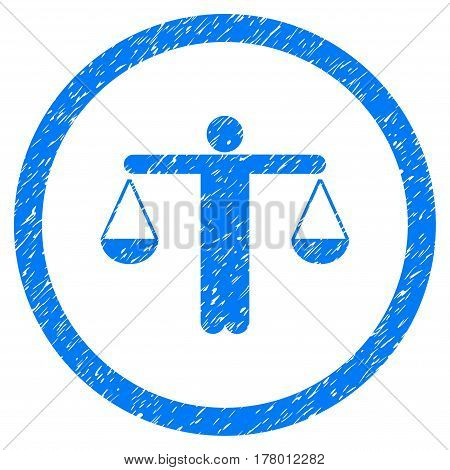 Lawyer grainy textured icon inside circle for overlay watermark stamps. Flat symbol with scratched texture. Circled dotted vector blue ink rubber seal stamp with grunge design on a white background.