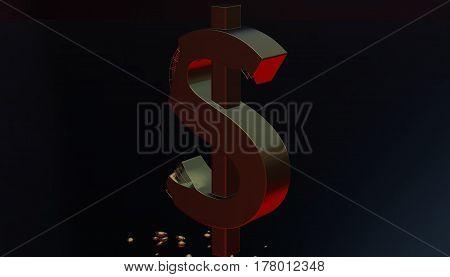 Gold dollar sign destruction symbol, 3d rendering