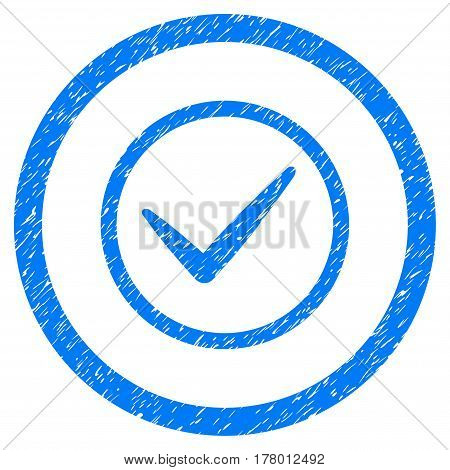 Ok grainy textured icon inside circle for overlay watermark stamps. Flat symbol with dust texture. Circled dotted vector blue ink rubber seal stamp with grunge design on a white background.
