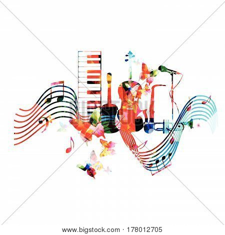 Colorful music instruments with music notes and butterflies isolated vector illustration. Music background. Piano keyboard, guitar, violoncello, trumpet, saxophone and microphone background