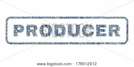 Producer text textile seal stamp watermark. Blue jeans fabric vectorized texture. Vector tag inside rounded rectangular banner. Rubber emblem with fiber textile structure.