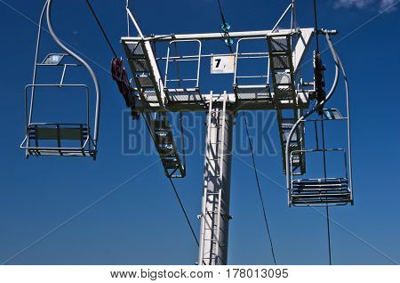Closeup of a ropeway at Divcibare mountain, west Serbia