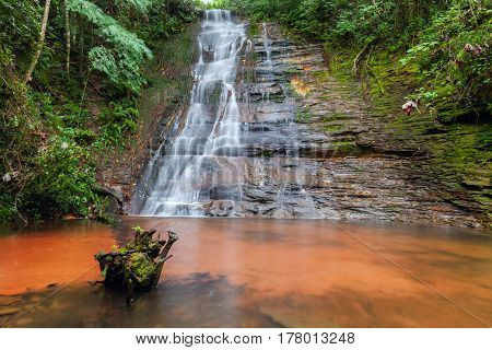 Cascades, beautiful waterfall in a rainforest. Bolivia. Long exposure. Stock photo