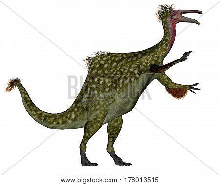 Deinocheirus dinosaur walking while roaring isolated in white background - 3D render