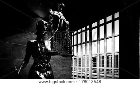 Themis on old prison building 3d rendering