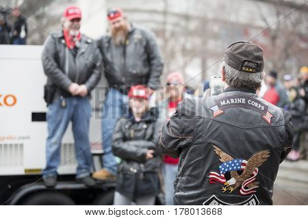 45th Presidential Inauguration, Donald Trump: Bikers for Trump from various motorcycle clubs take group photos, WASHINGTON DC - JAN 20 2017