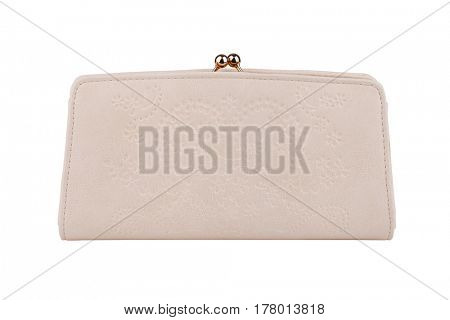 Beige purse isolated on white with clipping path