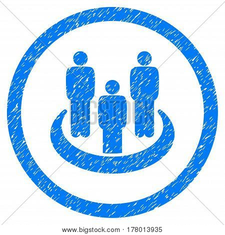 Social Group grainy textured icon inside circle for overlay watermark stamps. Flat symbol with dust texture. Circled dotted vector blue ink rubber seal stamp with grunge design on a white background.