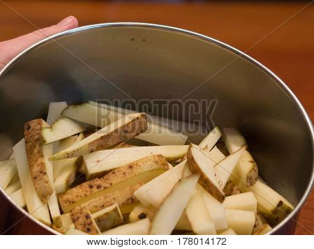 Potato Chopped For Fries In Bowl