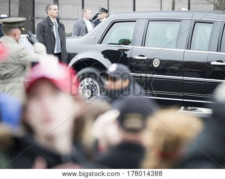 45th Presidential Inauguration, Donald Trump: Barron Trump, son of President Donald Trump looks out the window of the Presidential Motorcade on Pennsylvania Ave, NW, WASHINGTON DC - JAN 20 2017
