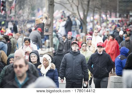 45th Presidential Inauguration, Donald Trump: Crowds along the Presidential Parade route on Pennsylvania Ave, NW, WASHINGTON DC - JAN 20 2017